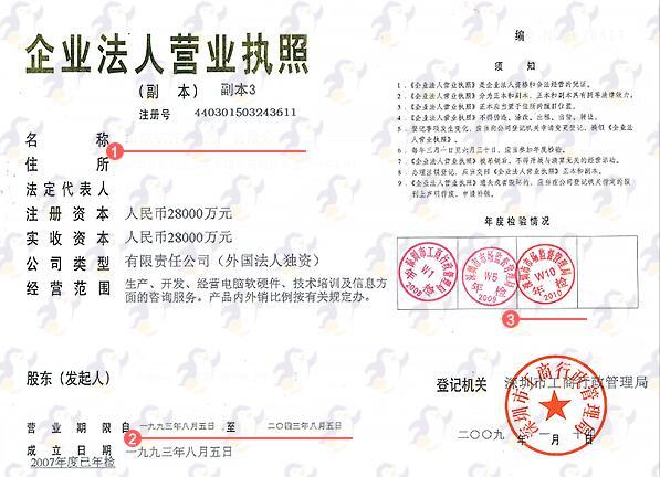 瑞士签证材料营业执照模版